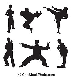 martial arts - different silhouette of martial artists on...