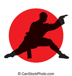 martial arts - abstract silhouette of martial artist on red...