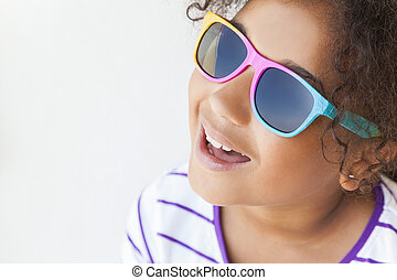 Mixed Race African American Girl Child Smiling Sunglasses -...