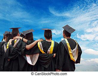 espalda, chino, graduados