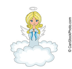 sweet little girl angel Praying while Kneeling on the Clouds...