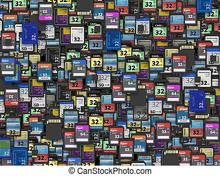 Many of different SD and microSD memory cards fictitious...