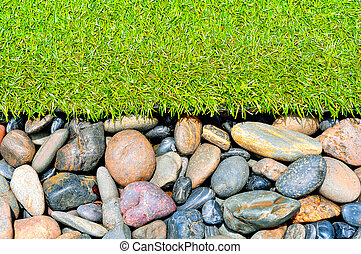 stone and grass decor