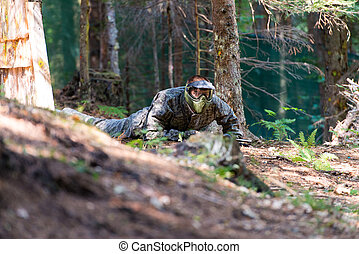 Paintball player Lying Down