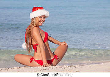 christmas holiday beach woman - happy christmas holiday...