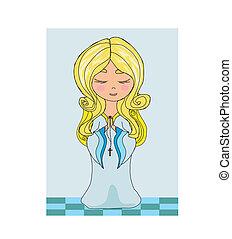 CÙte, pequeno, menina, orando, rosário