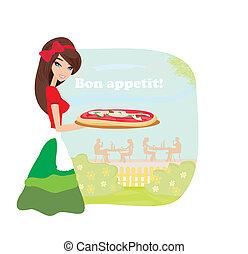 smiling waitress serving pizza