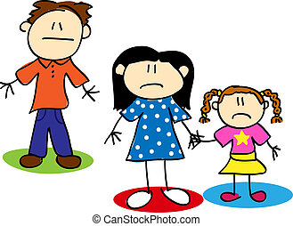 Stick figure unhappy family - Fun stick figure cartoon...