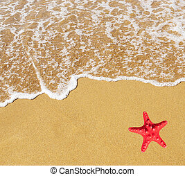 Sand beach and wave with red star