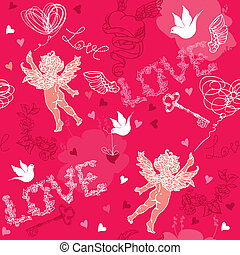 Valentines Day seamless pattern with Cupid, hand drawn hearts, keys and birds on red background.