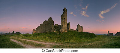 A view of ruined Castle of Branc situated in the in the west...