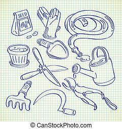 gardening tools doodle