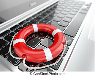 Support. Laptop and life preserver for first help.