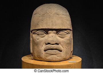 piedra, tallado, Olmec, cabeza