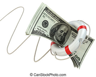 Financial aid. Life preserver and dollars.