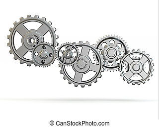 Perpetuum mobile. Iron gears on white isolated background....