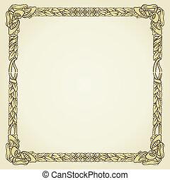 vintage gold floral typographic frame