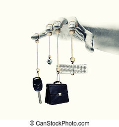 Business items - Close up of human hand with business items