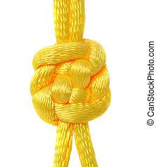 encaje, seda, nudo, amarillo