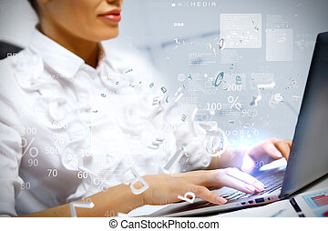 Business person working on computer against technology...