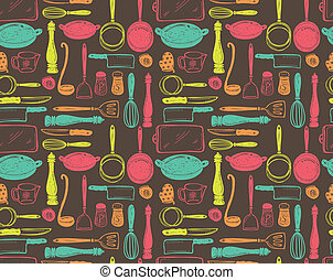kitchen utensil seamlesss pattern