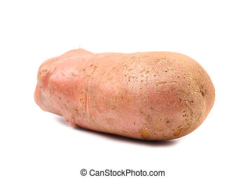 Red potatoe on white with clipping path - Red potatoe on a...