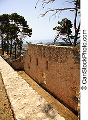 Old wall of Ayios Georgios castle Kefalonia Greece