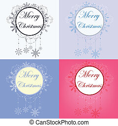 set of christmas banners - vector set of christmas banners