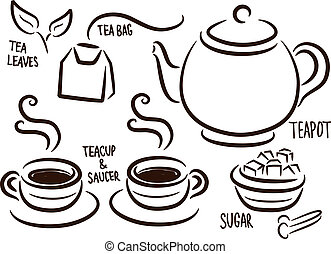 set of tea time icon
