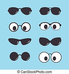 set of vintage sunglasses icon