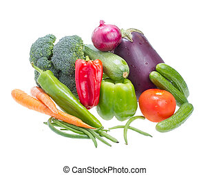 Assorted vegetables. - Assorted vegetables isolated on white...