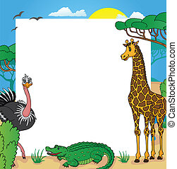 African frame with animals 01 - vector illustration.