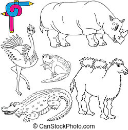 Coloring image wild animals 02 - vector illustration.