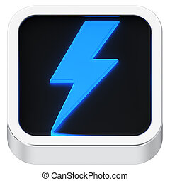 Lightning luminous icon - Lightning symbol luminous square...