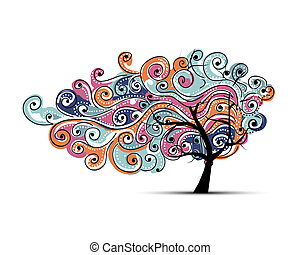 Abstract wavy tree for your design