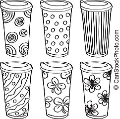 set of tumbler with different texture