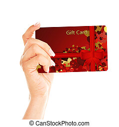 gift card holded by hand over white background