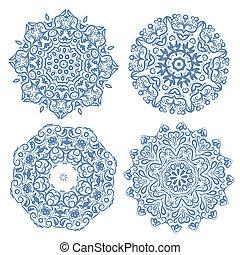 Conjunto, arabesco, ornamento, su, diseño