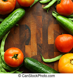 Vegetables and Wood Cutting Board Border Square - a...