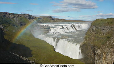 big waterfall gullfoss rainbow - rainbow cross huge...