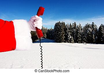 Christmas - Santa Claus Hotline symbolized by a red retro...