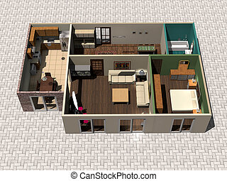 3D house plan - 3D rendering house plan
