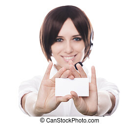Call Center Girl Holding Card - Young woman, customer...