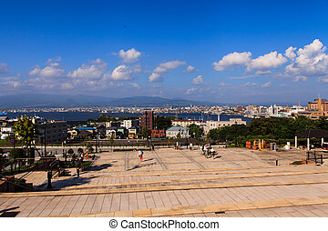 Cityscape view take photo from Motomachi Park Hakodate...