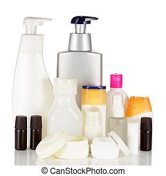Set of cosmetic bottles isolated on white background - Set...