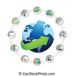 international globe and tools settings illustration
