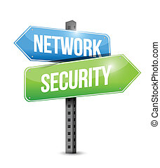 network security road sign illustration design over a white...