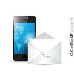 phone and envelope illustration design over a white...