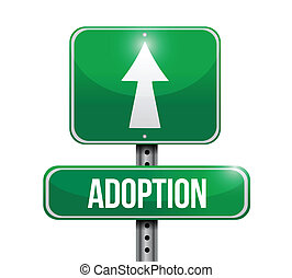adoption road sign illustration design over a white...