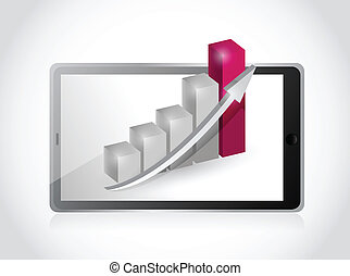 tablet and business graph illustration